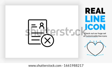 editable real line icon of a resume used for a  job interview in your career on a paper with a person stick man and text lines with a deny cross checkbox in a black rounded lines vector style  Foto stock ©