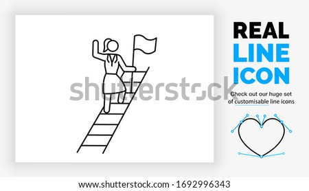 editable real line icon of a