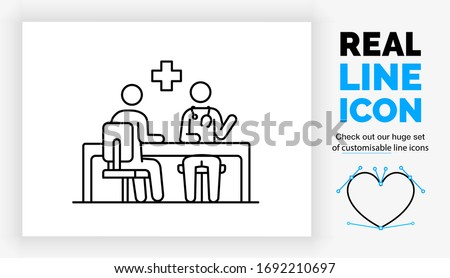 Editable real line icon of a stick figure doctor consultation with a patient in his office sitting at a desk in a chair with a stethoscope and a medical cross in modern black lines as a eps vector