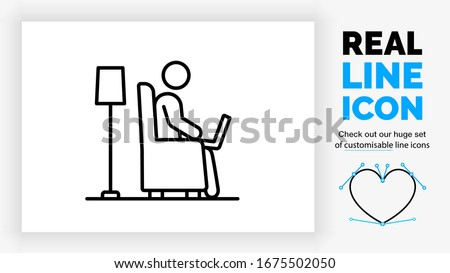 editable real line icon of a stick figure person working at home with his laptop on his lap sitting in a comfortable chair in the living room with a lamp behind him in modern black vector lines