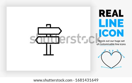 Editable real line icon of a way finding sign with different left and right directions on a pole in modern black lines  on a clean white background as a EPS vector symbol Stockfoto ©