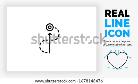 Editable real line icon of getting straight to the point in a shortcut with an arrow pointing to the center and a dotted line taking a detour in modern black lines on a clean white background in EPS Сток-фото ©