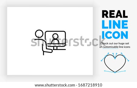 Editable real line icon of stick figure people working from home on their computer communicating with their colleagues in on a online server with digital files in modern black lines as a eps vector