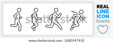 Editable real line icon set of a boy stick figure running fast and jogging in a outline design in modern black lines on a clean white background as a EPS vector file Zdjęcia stock ©