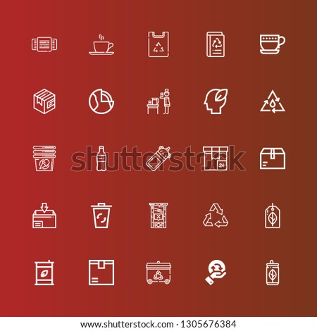 Editable 25 recycle icons for web and mobile. Set of recycle included icons line Can, Recycling, Recycling bin, Package, Eco fuel, Recyclable, Recycle, Guillotine, Bottle on red