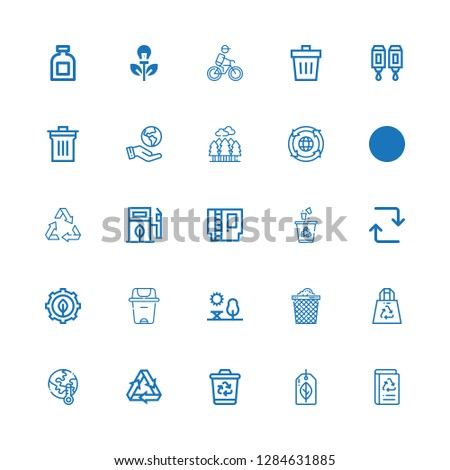 Editable 25 recycling icons for web and mobile. Set of recycling included icons line Book recycled, Recyclable, Recycling bin, Recycling, Global warming, Recycled Plastic Bag on white background