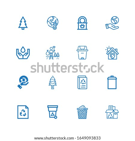 Editable 16 recycling icons for web and mobile. Set of recycling included icons line Recycling box, Trash can, Trash, Recycle, Garbage, Book recycled, Pine tree on white background