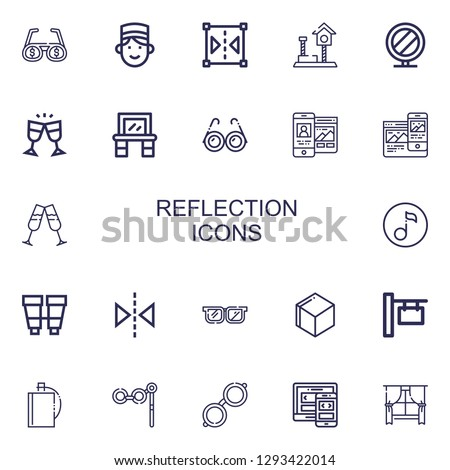 Editable 22 reflection icons for web and mobile. Set of reflection included icons line Glasses, Concierge, Reflect, Play, Mirror, Vanity, Responsive, Quaver on white background