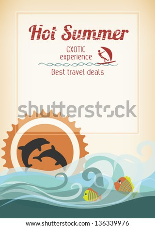 Editable retro romantic seaside poster - with stylized dolphins, fishes, waves and sunset for travel advertising