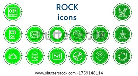 editable 14 rock icons for web