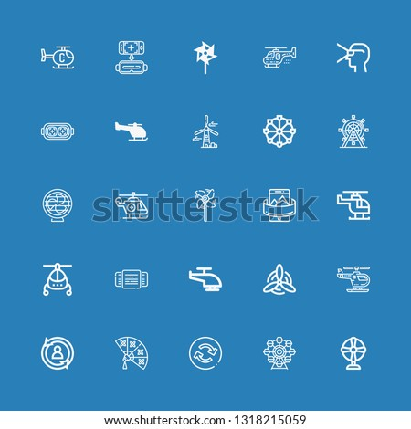 Editable 25 rotate icons for web and mobile. Set of rotate included icons line Fan, Ferris wheel, Reload, Rotate, Helicopter, Windmill, Rotating, Panoramic on blue background