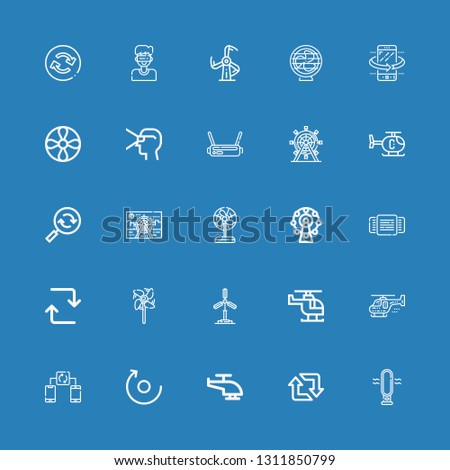 Editable 25 rotate icons for web and mobile. Set of rotate included icons line Fan, Retweet, Helicopter, Rotate, Synchronize, Windmill, Repeat, Rotating, Ferris wheel on blue background