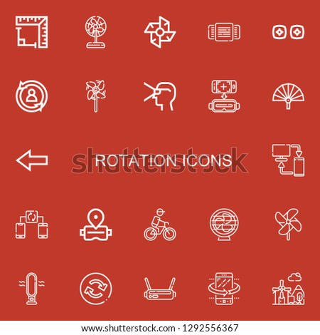 Editable 22 rotation icons for web and mobile. Set of rotation included icons line Angle, Fan, Windmill, Rotating, Vr, Rotate, Virtual reality, Back, Sync, Synchronize on red background