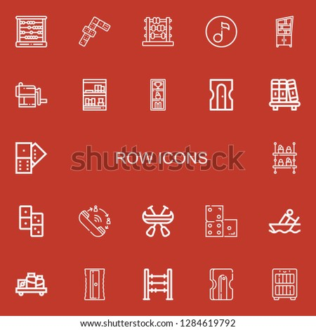 Editable 22 row icons for web and mobile. Set of row included icons line Abacus, Dominoes, Quaver, Shelf, Sharpener, Bookcase, Bookshelf, Domino, Queue, Canoe on red background