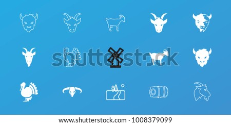 editable 15 rural icons  goat