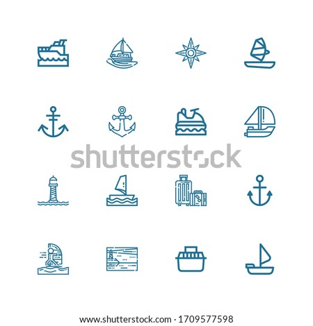 Editable 16 sailing icons for web and mobile. Set of sailing included icons line Sailing boat, Transport, Lighthouse, Windsurfing, Anchor, Travel, Windsurf on white background