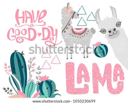 Editable set with a cute lama