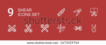 Editable 9 shear icons for web and mobile. Set of shear included icons line Scissors, Cut, Shears on red background