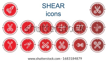 Editable 14 shear icons for web and mobile. Set of shear included icons line Scissors, Cut, Shears, Shear