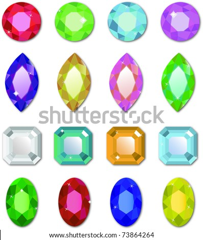 Editable shiny vector gemstones isolated on a white background