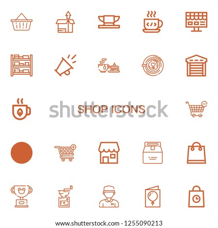 Editable 22 shop icons for web and mobile. Set of shop included icons line Basket, Package, Anvil, Coffee cup, Online shop, Shelves, Promotion, Tea, Latte on white background