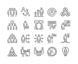 Editable simple line stroke vector icon set,Business Office Related People Meeting, Winner, Teamwork, Presentation, Conversation, Employment.48x48 Pixel Perfect.