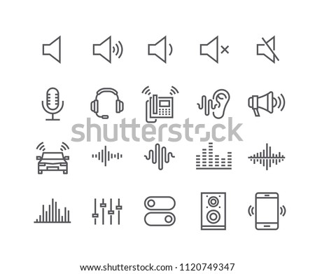 Editable simple line stroke vector icon set,Sound Voulme Process, audio wave, soundbeat, speaker and more. 48x48 Pixel Perfect.