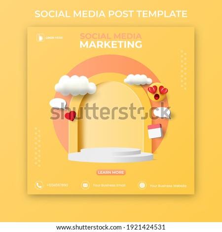 editable social media post template. 3D social media banner ads.