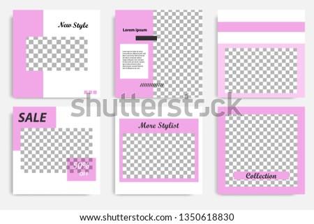 Editable social media post template. Minimalist purple stripe line in white background. Modern geometric shape pattern style, trendy and minimal design background. #1350618830