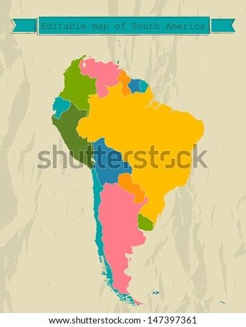 Editable South America  map with all countries. Vector illustration EPS8