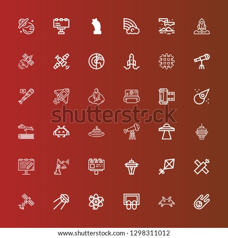Editable 36 space icons for web and mobile. Set of space included icons line Meteorite, Invader, Doormat, Solar system, Sputnik, Satellite, Kite, Space needle, Billboard on red