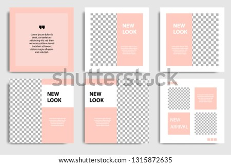 Editable square abstract geometric banner template for social media post and cover. Minimalist design background in soft orange pastel peach color. Vector illustration #1315872635