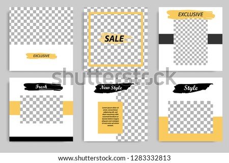 Editable square abstract vintage, rustic banner template for social media post. Golden yellow frame with black and white background. Minimal design background vector illustration