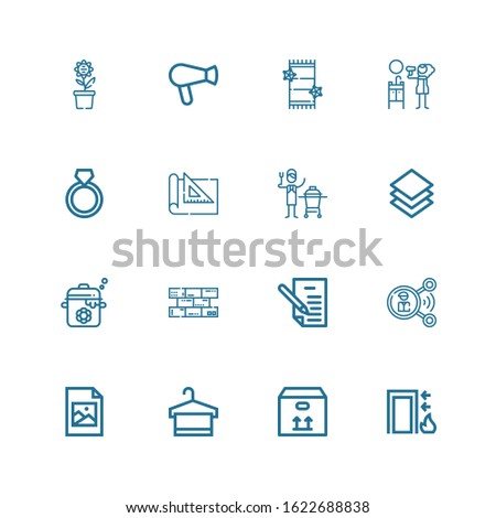 Editable 16 square icons for web and mobile. Set of square included icons line Exit, Box, Towel, Jpeg, Share, Letter, Bricks, Pot, Layer, Ceramic, Set square on white background