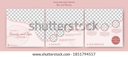 Editable square puzzle banner template. Social media post template spa and massage . Soft color with photo collage. Usable for social media feed spa and massage services.