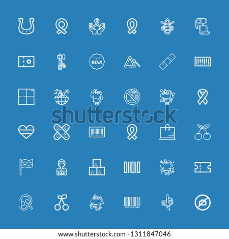 Editable 36 sticker icons for web and mobile. Set of sticker included icons line No camera, Butcher, Barcode, Unicorn, Cherry, Cotton, Coupon, Sugar cube, Hippie on blue background #1311847046