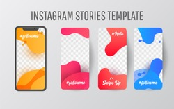 Editable  story template collection with wave liquid  gradient splashes