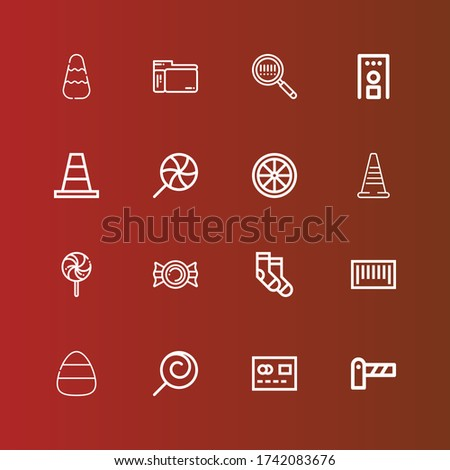 Editable 16 striped icons for web and mobile. Set of striped included icons line Barrier, Mastercard, Lollipop, Candy, Barcode, Socks, Traffic cone, Cone, Security gate on red