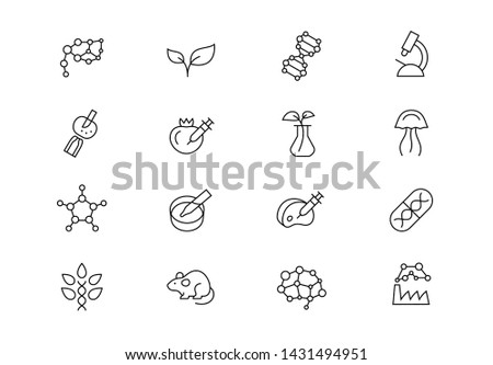 Editable stroke. Biotechnology science thin line vector icon set