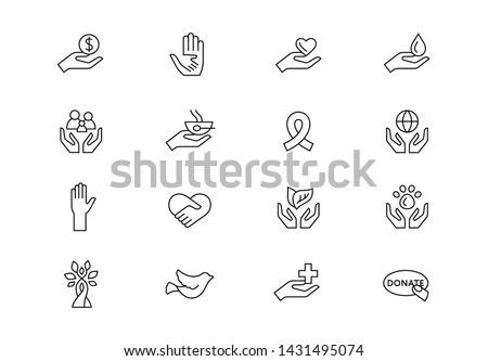 Editable stroke. Charity and donation thin line vector icon set. Volunteering and non profit symbols