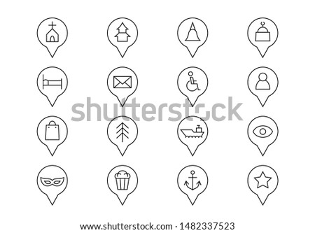 Editable stroke. Map location pointers thin line vector icons