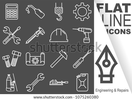 Editable stroke. Simple Set of Engineering and Repairs vector flat line Icons - calculator, oil, crane, sprocket, screwdriver, spanner, sliding gauge, helmet, drill, screw, drawing, hammer, vice