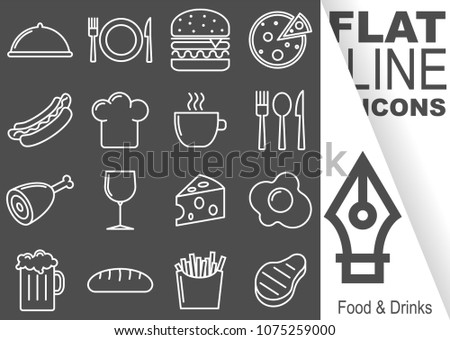 Editable stroke. Simple Set of Food and Drinks vector flat line Icons - hat, plate, burger, pizza, hot dog, cookie hat, mug, cutlery, leg, glass, cheese, egg, beer, bread, fries, steak