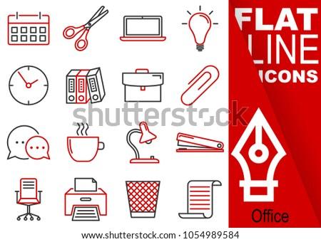 Editable stroke.Simple Set of Office vector flat line Icons - calendar, scissors, notebook, bulb, clock, folders, suitcase, buckle, communication, mug, lamp, stapler, chairs, printer, waste bin, paper