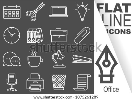 Editable stroke. Simple Set of Office vector flat line Icons - calendar, scissors, notebook, bulb, clock, folders, suitcase, buckle, communication, mug, lamp, stapler, chairs, printer, waste bin