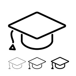 Editable Stroke square academic cap linear style icon. Education flat icon. Vector illustration isolated on white background.