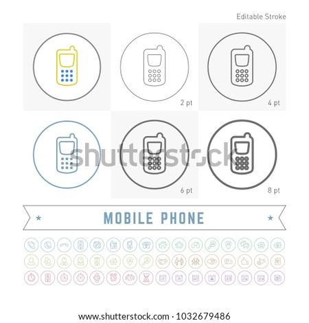 Editable stroke vector basic thin mobile phone  icon. Outline isolated contact symbol. Collection minimal cell pictogram. Telephone element. Basic call device.