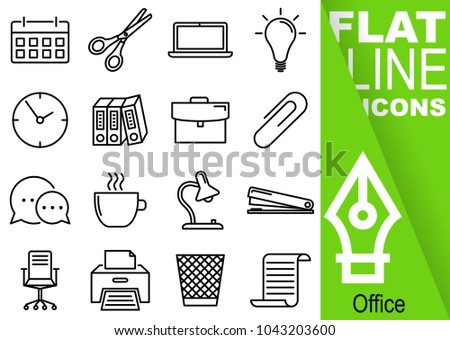 Editable stroke 70x70 pixel. Simple Set of Office vector flat line Icons - calendar, scissors, notebook, bulb, clock, folders, suitcase, buckle, communication, mug, lamp, stapler, chairs, print