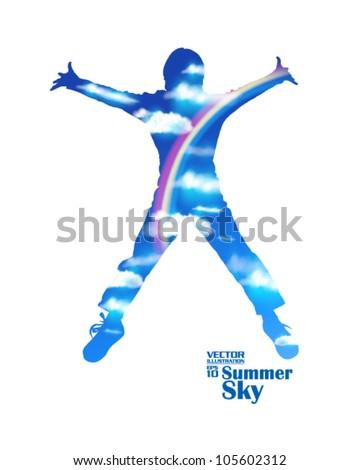 editable summer sky with rainbow and jumping man vector design