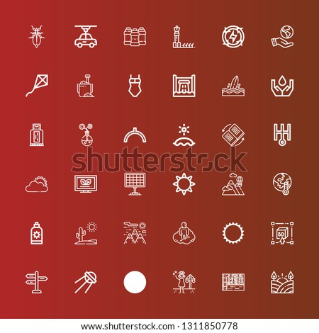Editable 36 sun icons for web and mobile. Set of sun included icons line Field, Landscape, Summer, Kite, Sputnik, Panel, d, Sun, Astral, Mountain, Desert, cream, Global warming on red